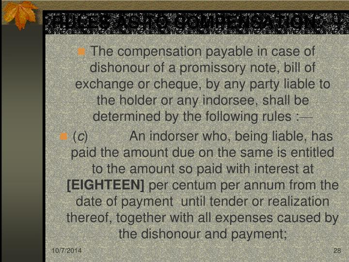 RULES AS TO COMPENSATION.