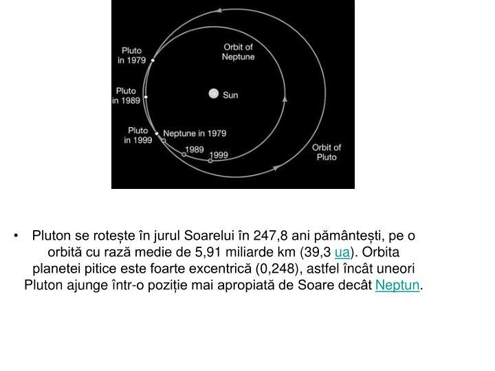 Pluton se rotește în jurul Soarelui în 247,8 ani pământești, pe o orbită cu rază medie de 5,91 miliarde km (39,3