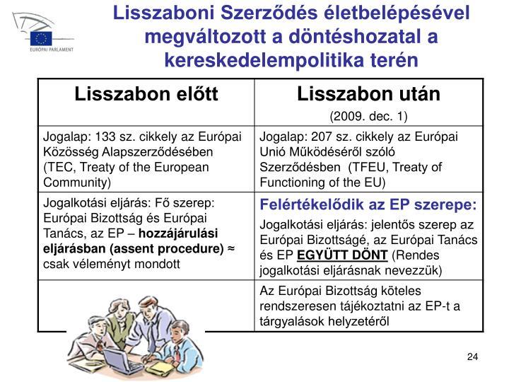 Lisszaboni Szerződés életbelépésével megváltozott a döntéshozatal a kereskedel