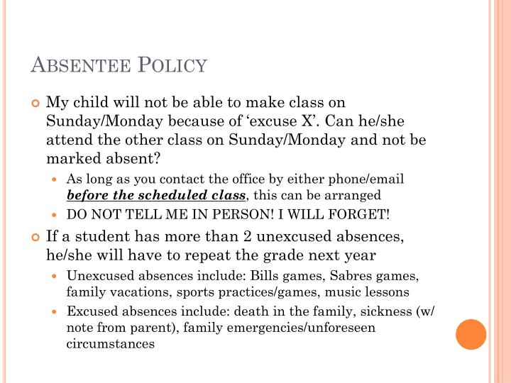 Absentee Policy