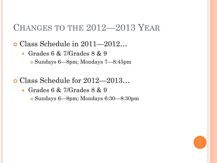 Changes to the 2012—2013 Year