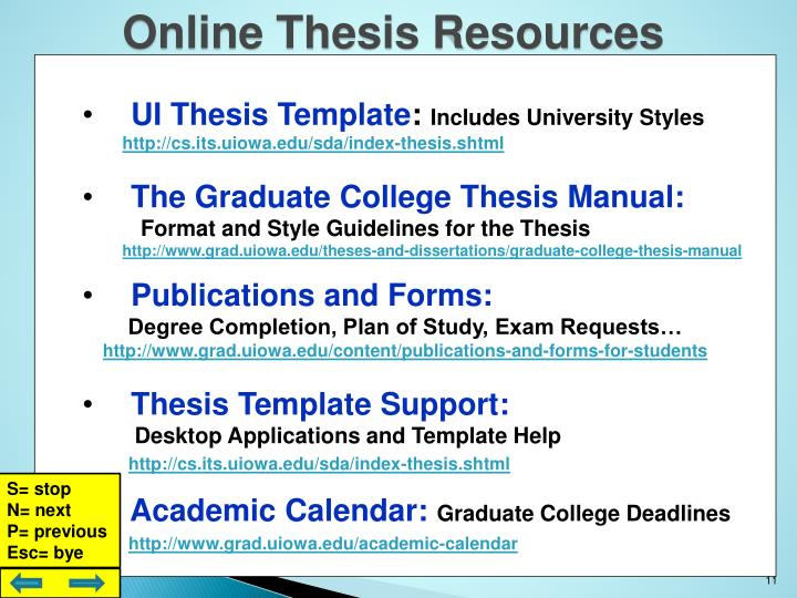 Online Thesis Resources