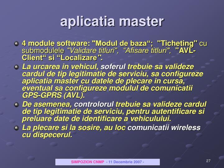 aplicatia master