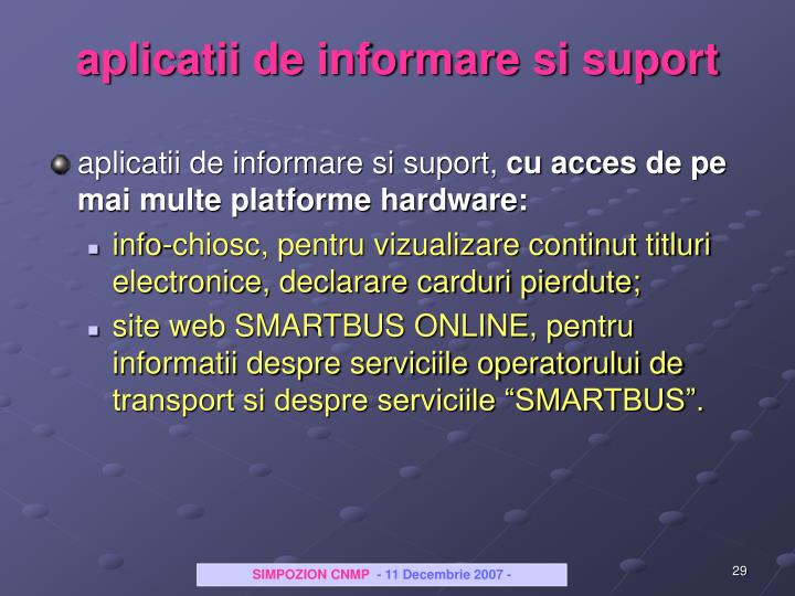 aplicatii de informare si suport