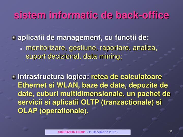 sistem informatic de back-office