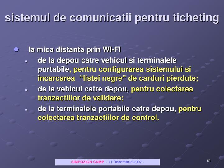 sistemul de comunicatii pentru ticheting