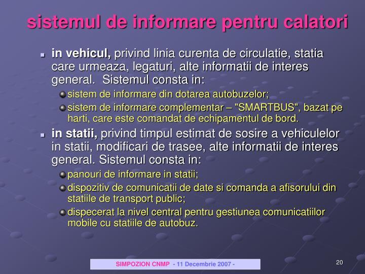 sistemul de informare pentru calatori