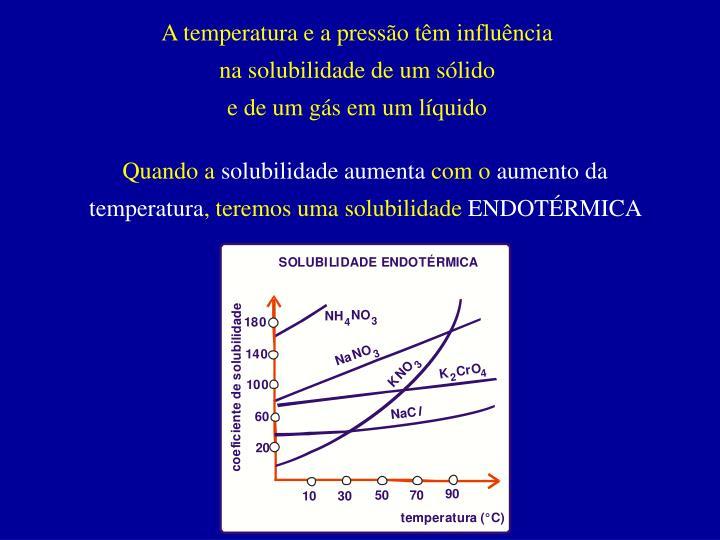 A temperatura e a pressão têm influência