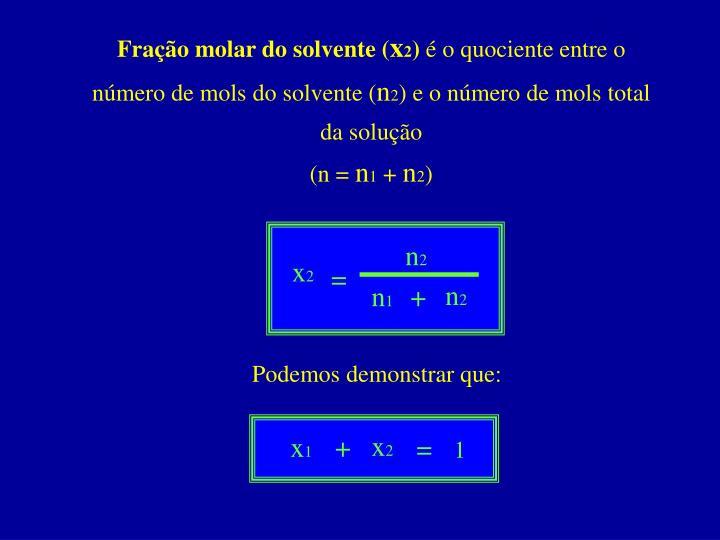 Fração molar do solvente (