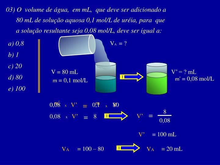 03) O  volume de água,  em mL,  que deve ser adicionado a