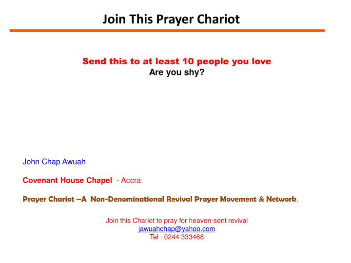 Join This Prayer Chariot
