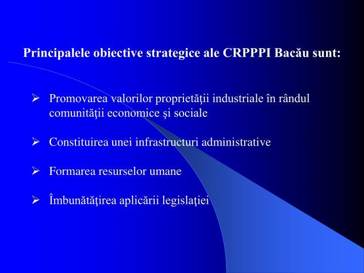 Principalele obiective strategice ale CRPPPI Bacău sunt: