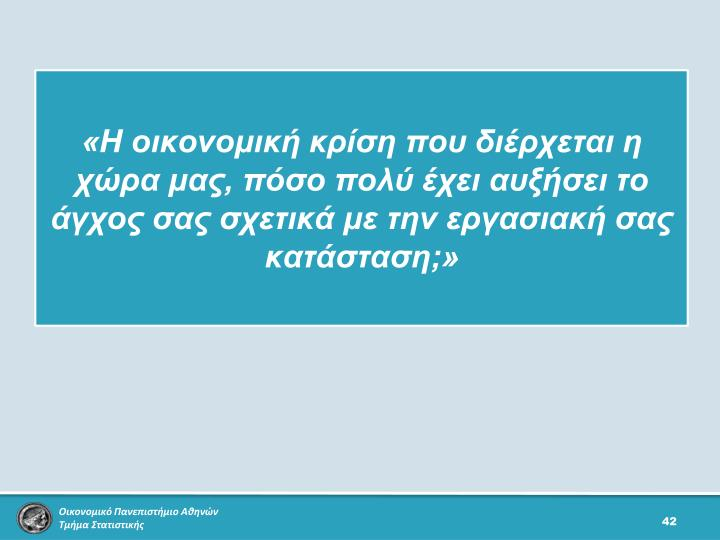 «Η οικονομική κρίση που διέρχεται η χώρα μας, πόσο πολύ έχει αυξήσει το άγχος σας σχετικά με την εργασιακή σας κατάσταση;»