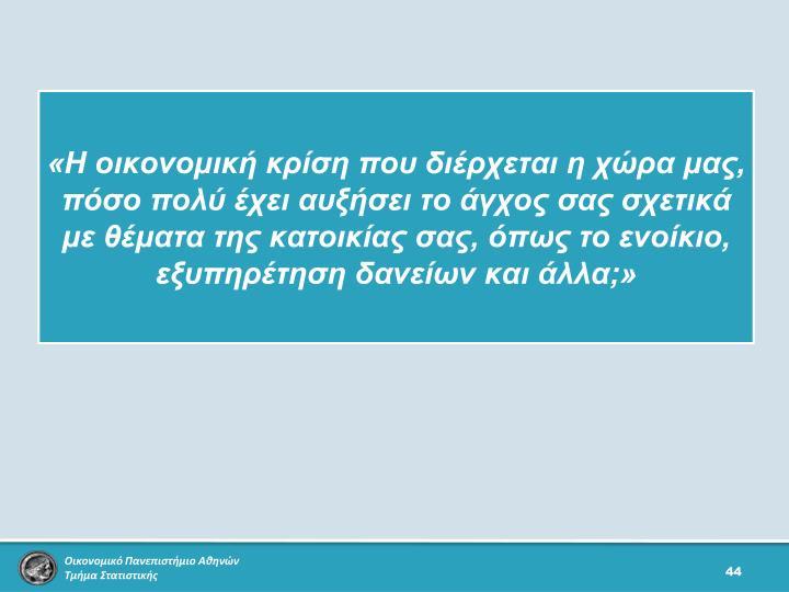«Η οικονομική κρίση που διέρχεται η χώρα μας, πόσο πολύ έχει αυξήσει το άγχος σας σχετικά με θέματα της κατοικίας σας, όπως το ενοίκιο, εξυπηρέτηση δανείων και άλλα;»