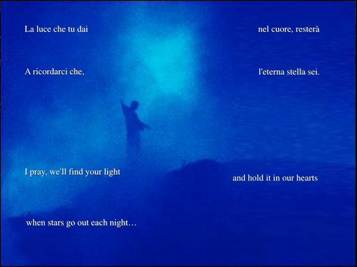 La luce che tu dai