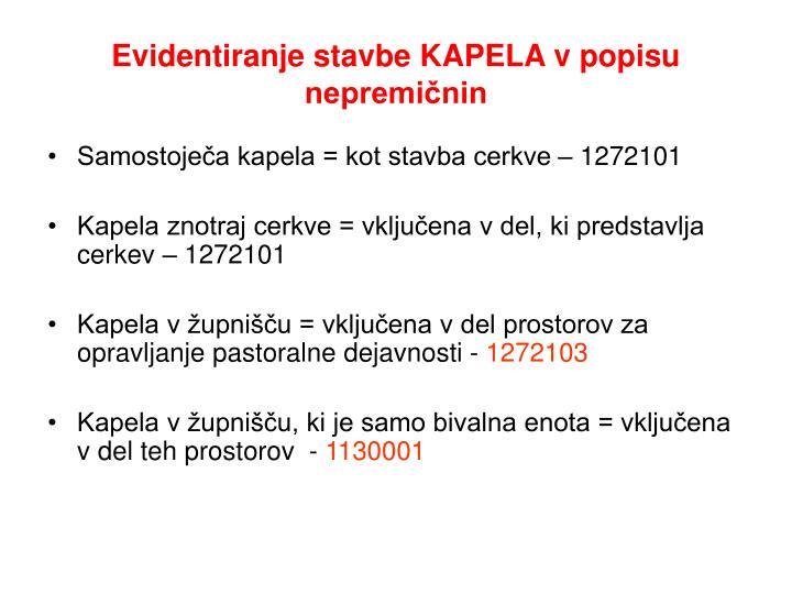 Evidentiranje stavbe KAPELA v popisu nepremičnin