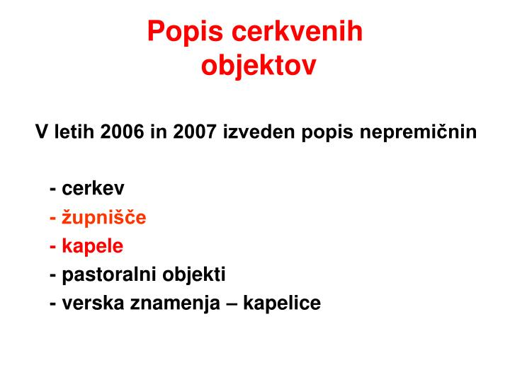 Popis cerkvenih