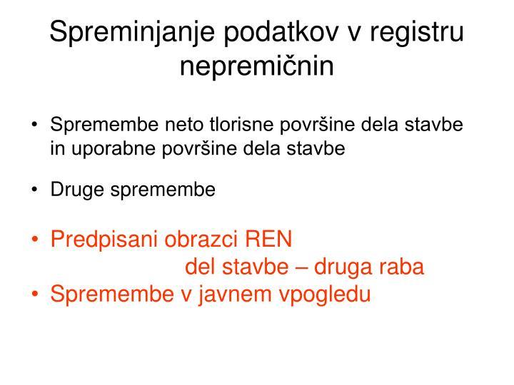Spreminjanje podatkov v registru nepremičnin