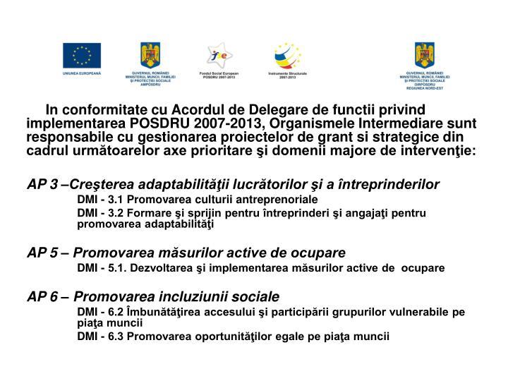 In conformitate cu Acordul de Delegare de functii privind implementarea POSDRU 2007-2013, Organismele Intermediare sunt responsabile cu gestionarea proiectelor de grant si strategice din cadrul următoarelor axe prioritare şi domenii majore de intervenţie: