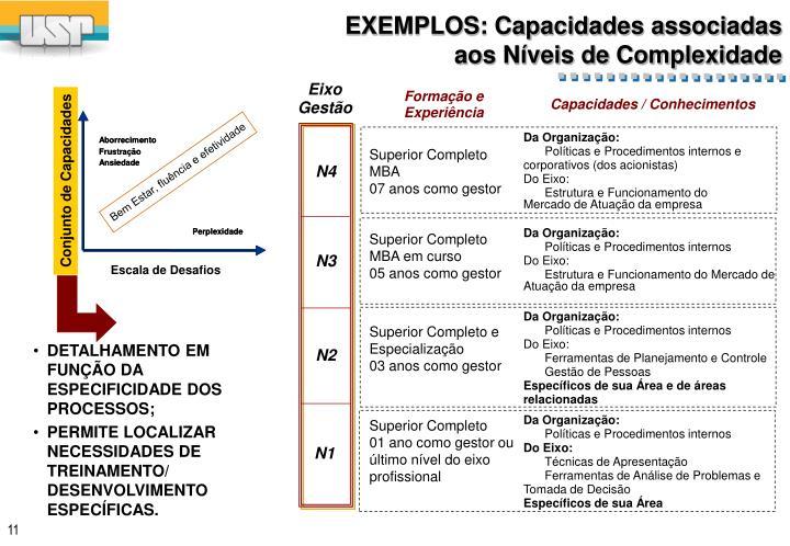 EXEMPLOS: Capacidades associadas