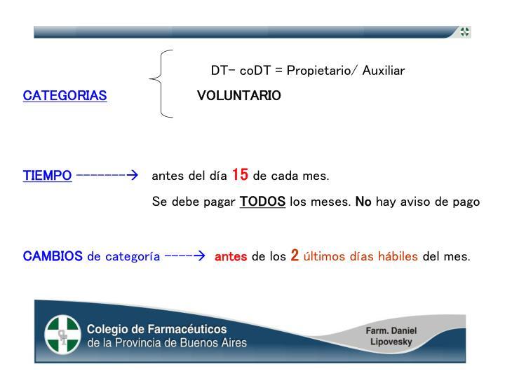DT- coDT = Propietario/ Auxiliar