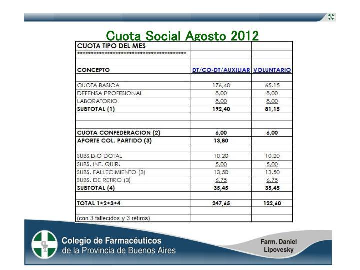 Cuota Social Agosto 2012