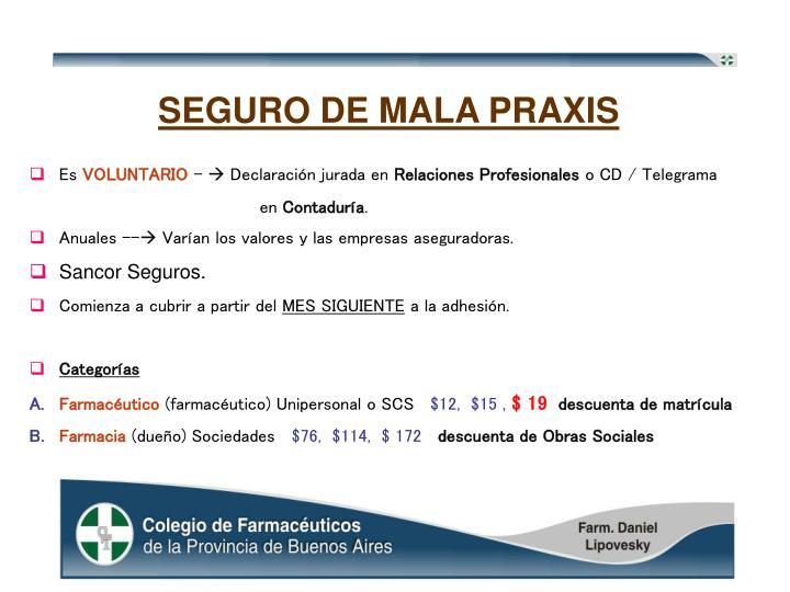 SEGURO DE MALA PRAXIS