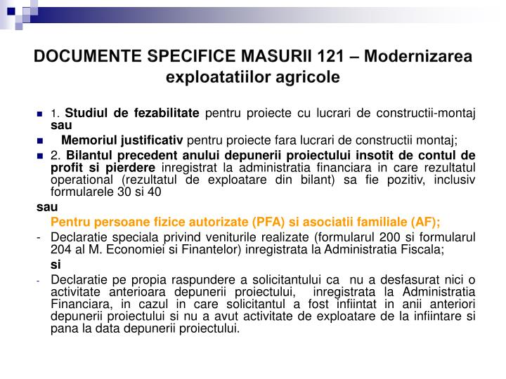 DOCUMENTE SPECIFICE MASURII 121 –
