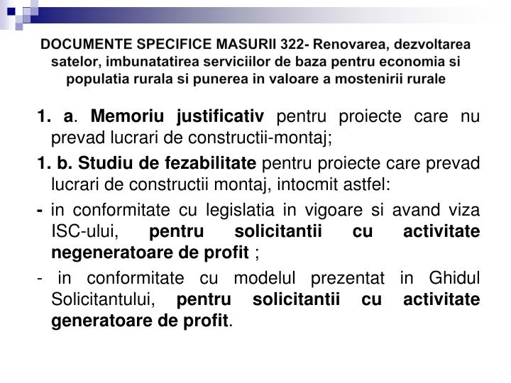 DOCUMENTE SPECIFICE MASURII 322-