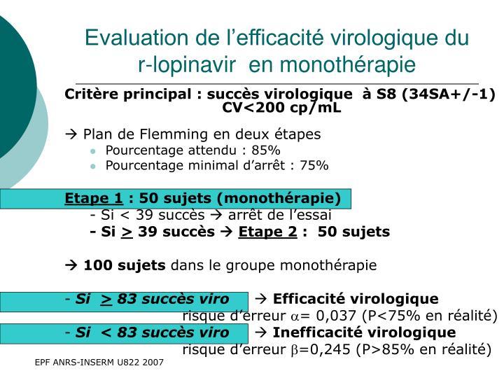 Evaluation de l'efficacité virologique du r-lopinavir  en monothérapie