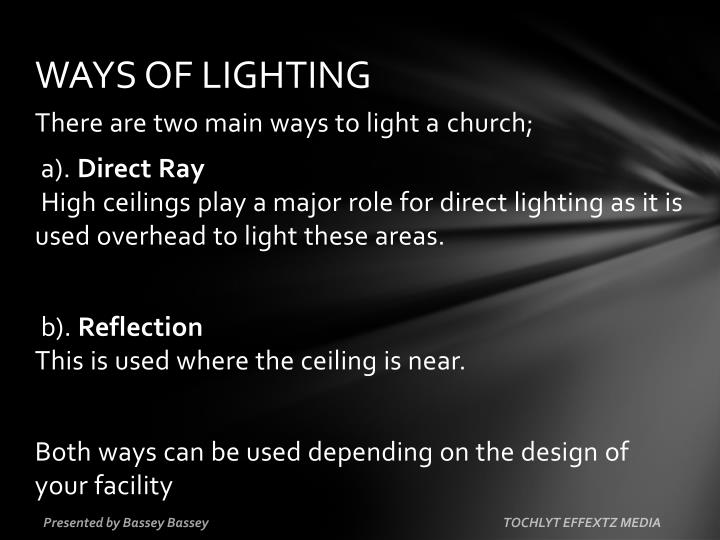 WAYS OF LIGHTING