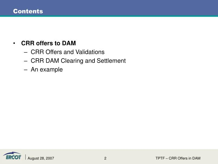 CRR offers to DAM