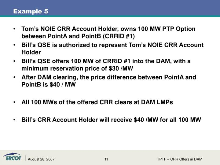Tom's NOIE CRR Account Holder, owns 100 MW PTP Option between PointA and PointB (CRRID #1)