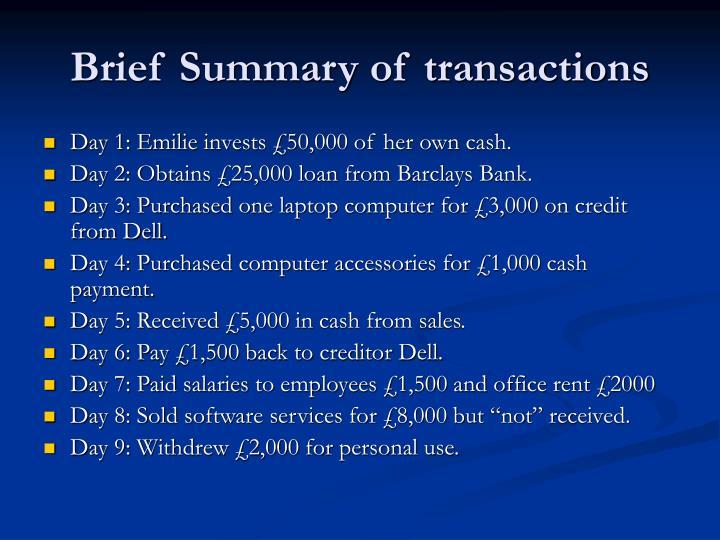 Brief Summary of transactions