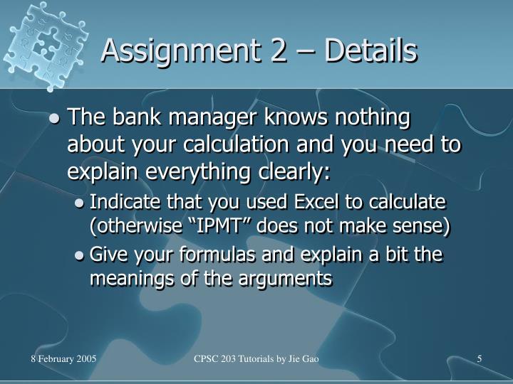 Assignment 2 – Details