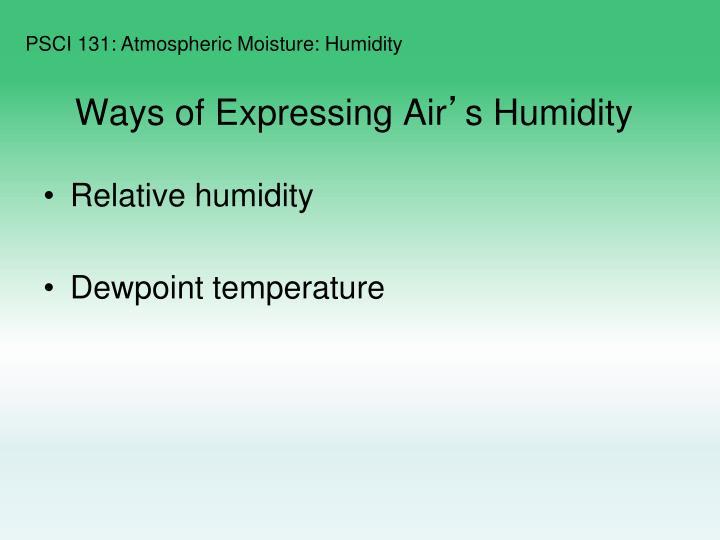Ways of Expressing Air
