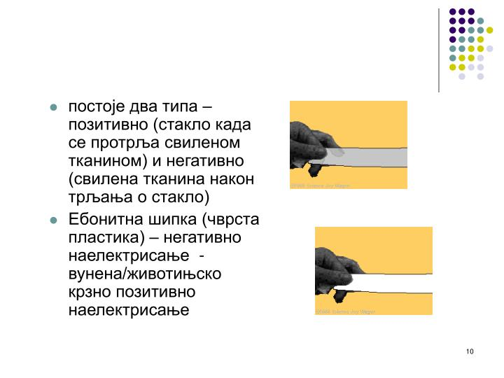 постоје два типа – позитивно (стакло када се протрља свиленом тканином) и негативно (свилена тканина након трљања о стакло)