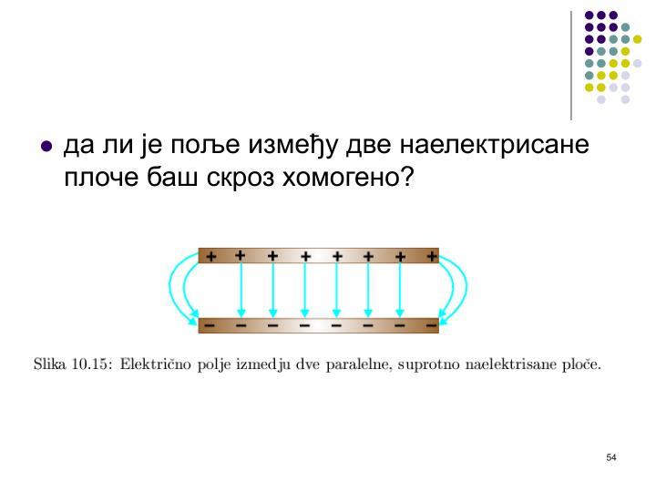 да ли је поље између две наелектрисане плоче баш скроз хомогено?