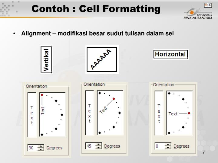 Contoh : Cell Formatting