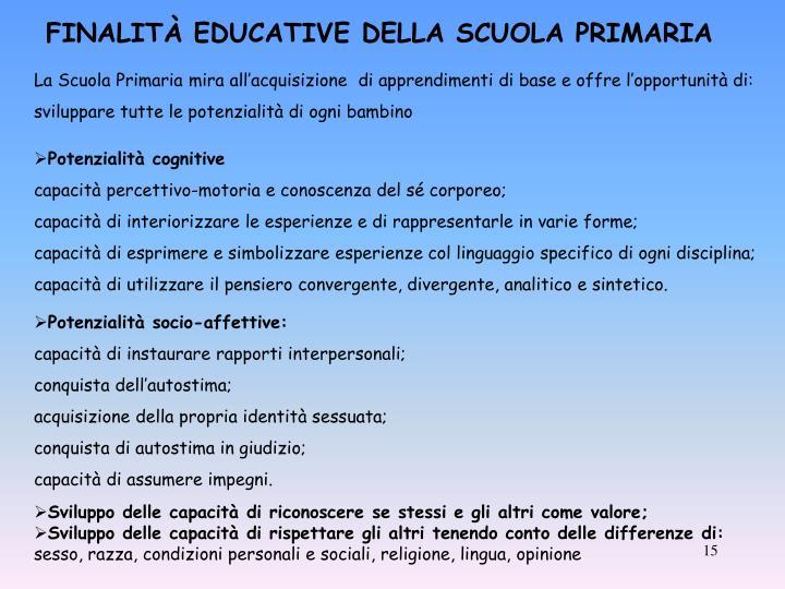 FINALITÀ EDUCATIVE DELLA SCUOLA PRIMARIA