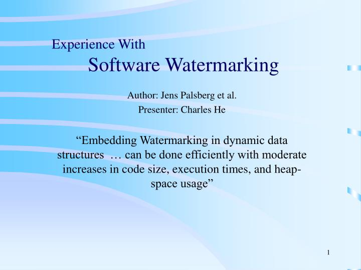 experience with software watermarking