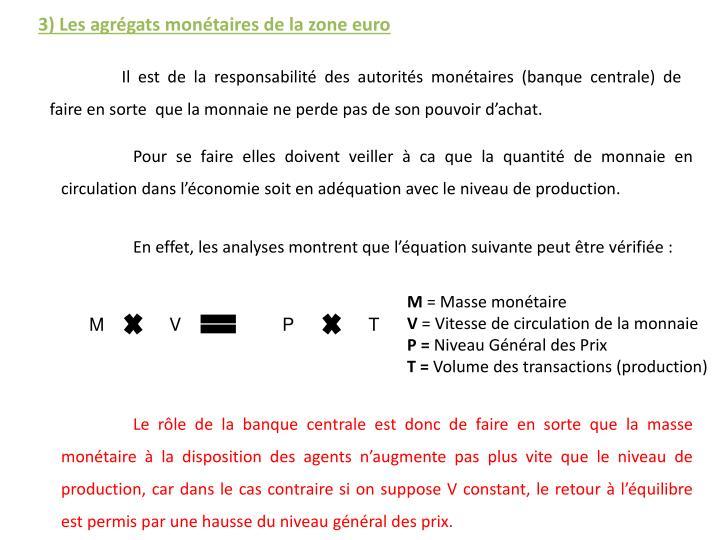 3) Les agrégats monétaires de la zone euro