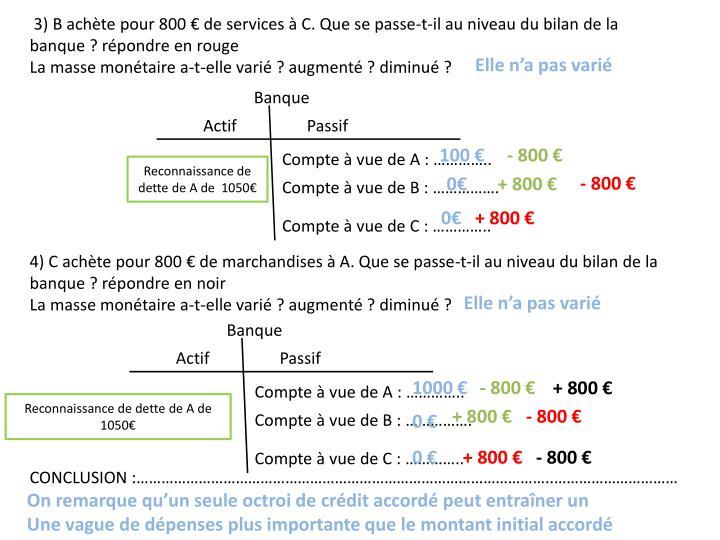 3) B achète pour 800 € de services à C. Que se passe-t-il au niveau du bilan de la banque? répondre en rouge