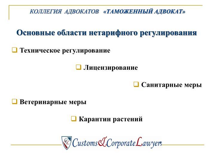 Основные области нетарифного регулирования