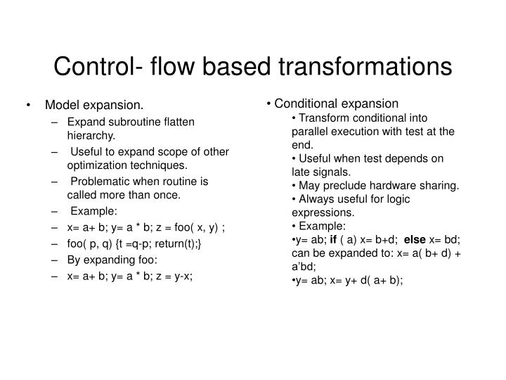 Control- flow based transformations