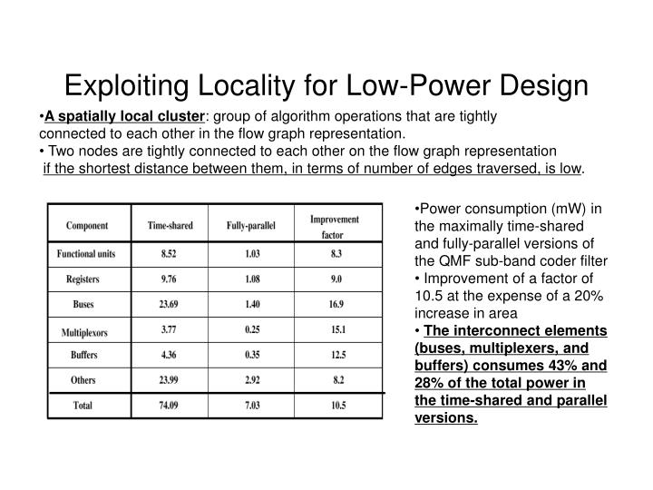 Exploiting Locality for Low-Power Design