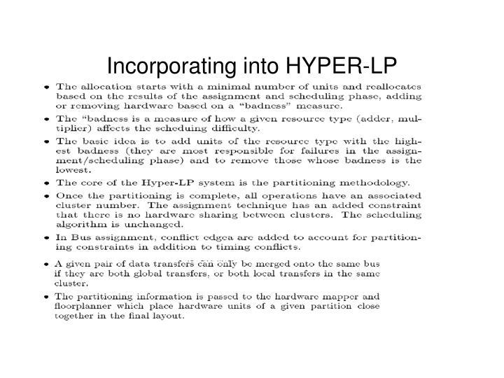 Incorporating into HYPER-LP