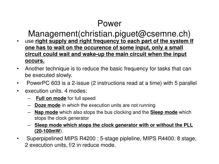 Power Management(christian.piguet@csemne.ch)