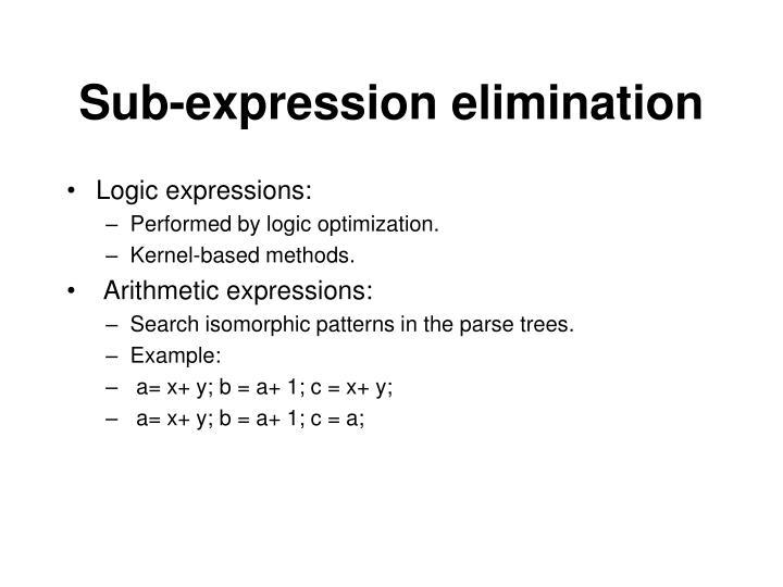 Sub-expression elimination