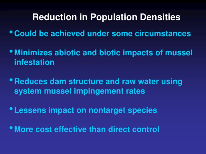 Reduction in Population Densities